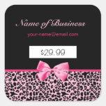 Precios rosados y negros de moda de las rosas fuer calcomania cuadrada personalizada