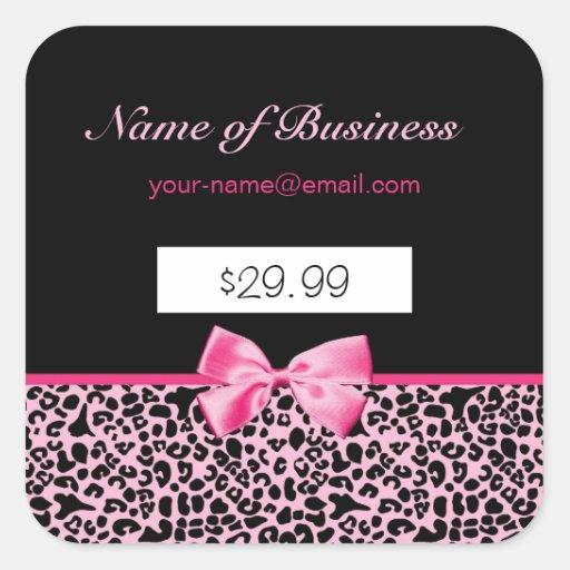 Precios rosados y negros de moda de las rosas calcomania cuadrada personalizada
