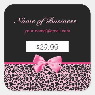 Precios rosados y negros de moda de las rosas pegatina cuadrada