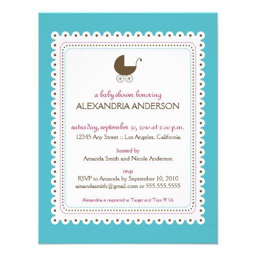 Precious Aqua Custom Baby Shower Invitation