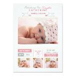 "Precious Arrival Pink Photo Birth Announcement 5"" X 7"" Invitation Card"