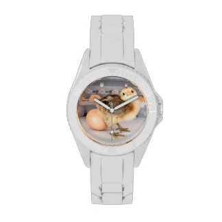 Precious Baby Chick and Egg Carton Wrist Watches