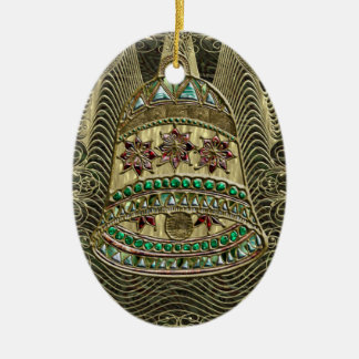 Precious Bell Double-Sided Oval Ceramic Christmas Ornament