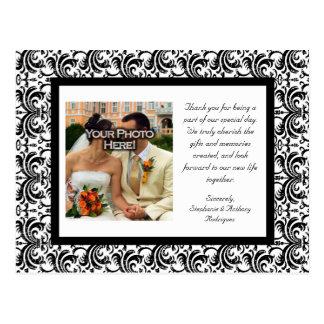 Precious Black+White Wedding Thank You Postcard