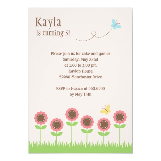 "Precious Blooms Birthday Party Invitation 5"" X 7"" Invitation Card"