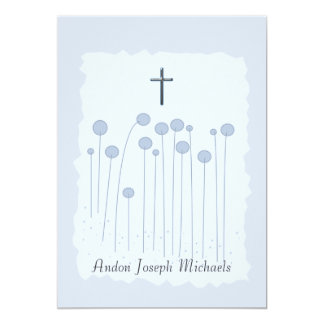 Precious Blue Religious Invitation