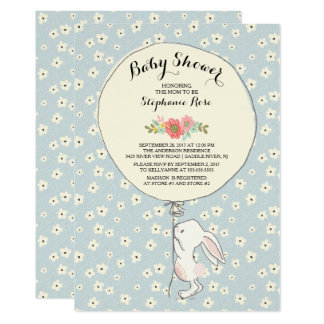 Precious Bunny Boys Baby Shower Invitation