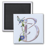 Precious Butterfly Initial B 2 Inch Square Magnet