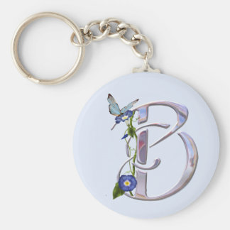 Precious Butterfly Initial B Basic Round Button Keychain