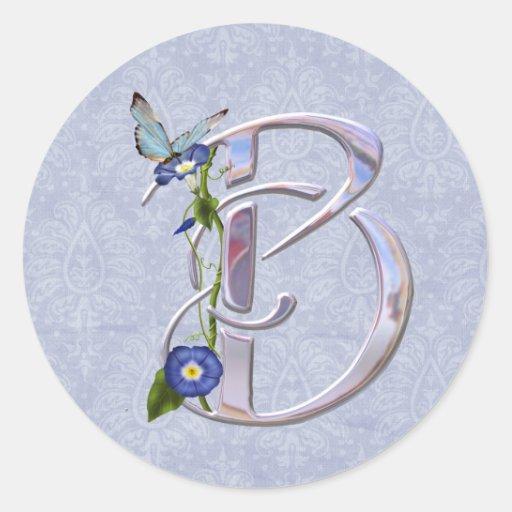 Precious Butterfly Initial B Sticker