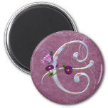 Precious Butterfly Initial C 2 Inch Round Magnet