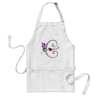 Precious Butterfly Initial E Adult Apron