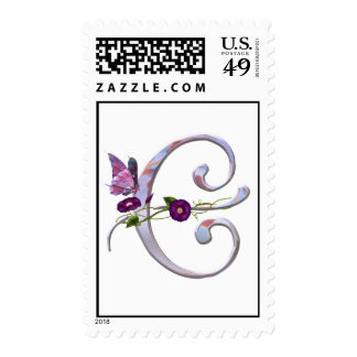 Precious Butterfly Initial E Stamp