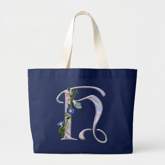 Precious Butterfly Initial H Large Tote Bag