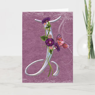 Precious Butterfly Initial J Note Card