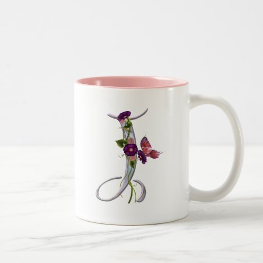 Precious Butterfly Initial J Two-Tone Coffee Mug