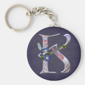 Precious Butterfly Initial K Basic Round Button Keychain