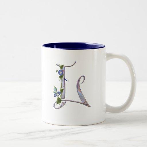Precious Butterfly Initial L Two-Tone Coffee Mug