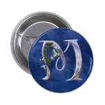 Precious Butterfly Initial M 2 Inch Round Button
