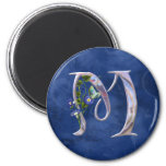 Precious Butterfly Initial M 2 Inch Round Magnet