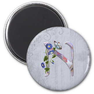 Precious Butterfly Initial N 2 Inch Round Magnet