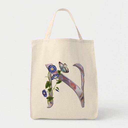 Precious Butterfly Initial N Canvas Bags