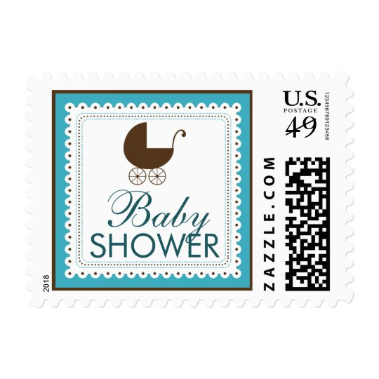Precious Carriage Baby Shower Stamp: aqua blue Postage