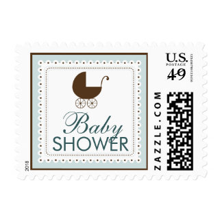Precious Carriage Baby Shower Stamp: baby blue Postage