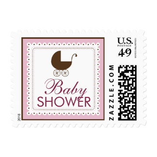 Precious Carriage Baby Shower Stamp: baby pink Postage