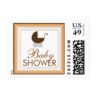 Precious Carriage Baby Shower Stamp: coral Postage Stamps