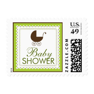 Precious Carriage Baby Shower Stamp: lime green