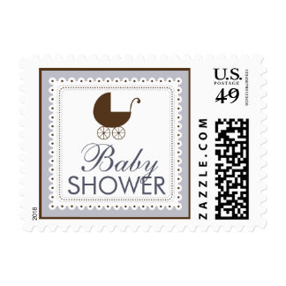 Precious Carriage Baby Shower Stamp: periwinkle Postage Stamp