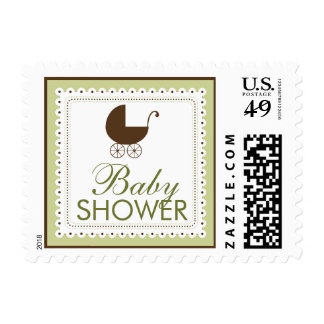 Precious Carriage Baby Shower Stamp: sage green Postage