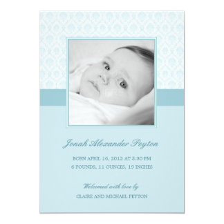 Precious Damask Baby Boy Birth Announcement