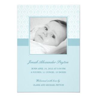 "Precious Damask Baby Boy Birth Announcement 5"" X 7"" Invitation Card"