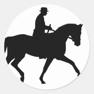 precious dressage horse with rider classic round sticker