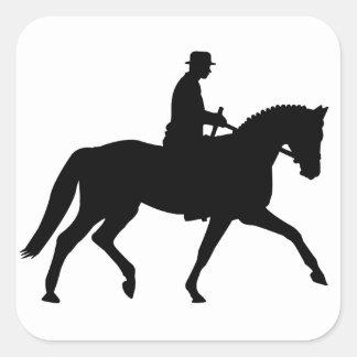 precious dressage horse with rider square sticker