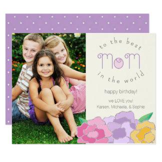 Precious Florals Happy Birthday Mom Photo Card