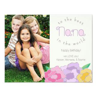 Precious Florals Happy Birthday Nana Photo Card Custom Invites