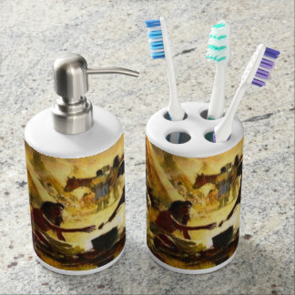 PRECIOUS GIFTS COLLECTION SOAP DISPENSER AND TOOTHBRUSH HOLDER