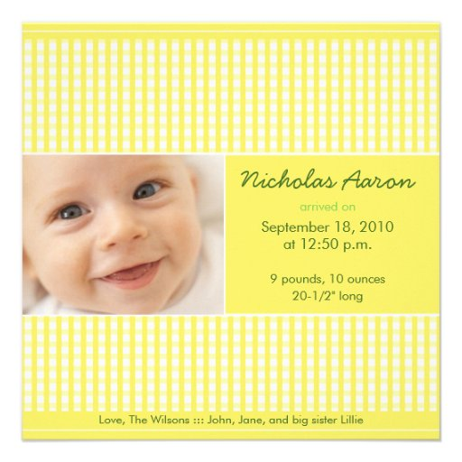 Precious Gingham (lemon) Birth Announcement