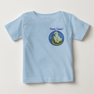 Precious Happy Easter Chick with Flower Design Baby T-Shirt