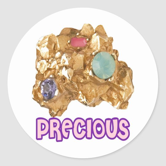 PRECIOUS - Jeweled Gold Nugget Classic Round Sticker