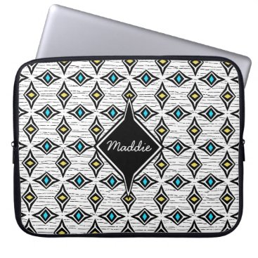 Aztec Themed Precious jewels blue yellow diamond shaped design laptop sleeve