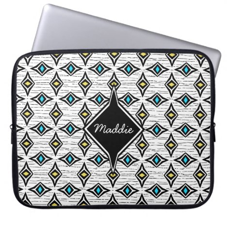 Precious jewels blue yellow diamond shaped design laptop sleeve