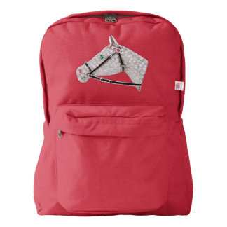PRECIOUS JEWELS DIAMOND HORSE Backpack, Red American Apparel™ Backpack