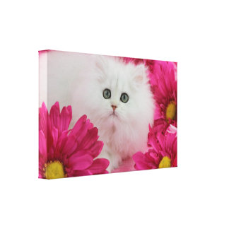 Precious Kittens Cats Customize Pink Flowers Gallery Wrapped Canvas