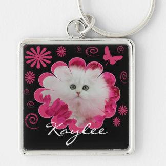 Precious Kittens Cats Pink Flowers Butterflies Keychain