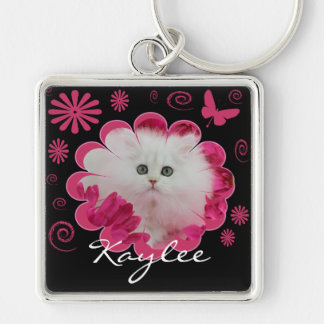 Precious Kittens Cats Pink Flowers Butterflies Silver-Colored Square Keychain