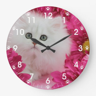 Precious Kittens Cats Pink Flowers Large Clock